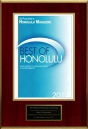 Best of Honolulu Magazine 2012 Award Plaque for Blue Hawaii Window Cleaning