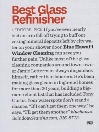 Honolulu Magazine Best Glass Refinisher Article for Blue Hawaii Window Cleaning